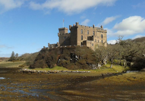 Dunvegan, Castle, Skye, reis, auto